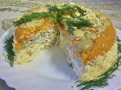 рецепт салата лисья шубка с красной рыбой